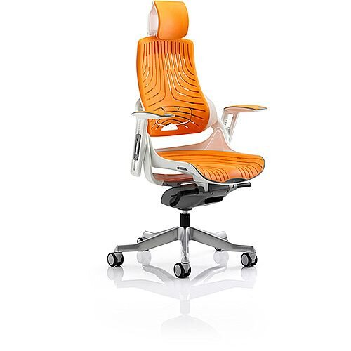 Zure Executive Office Chair Elastomer Gel Orange With Arms &Headrest