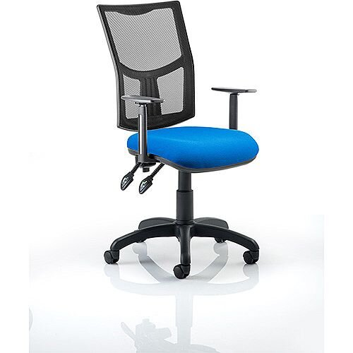 Eclipse II Lever Task Operator Office Chair Mesh Back With Blue Seat &Height Adjustable Arms