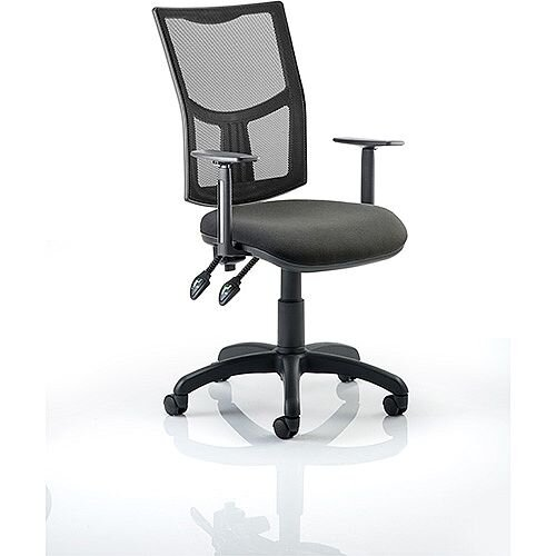 Eclipse II Lever Task Operator Office Chair Mesh Back With Charcoal Seat &Height Adjustable Arms