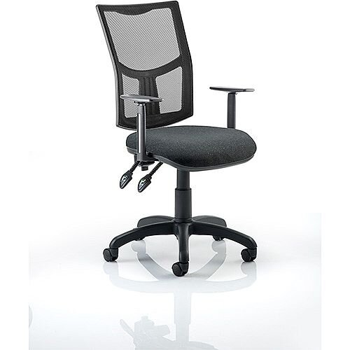 Eclipse II Lever Task Operator Office Chair Mesh Back With Black Seat &Height Adjustable Arms