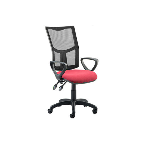Eclipse II Lever Task Operator Office Chair Mesh Back With Wine Seat &Loop Arms