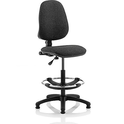 Eclipse I Lever Task Operator Office Chair Charcoal With Draughtsman Kit