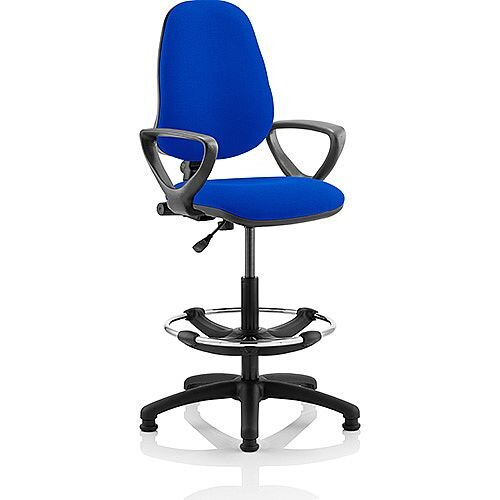 Eclipse I Lever Task Operator Office Chair Blue With Loop Arms With Draughtsman Kit