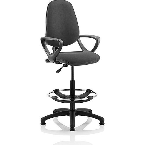 Eclipse I Lever Task Operator Office Chair Charcoal With Loop Arms With Draughtsman Kit