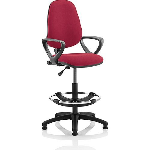 Eclipse I Lever Task Operator Office Chair Wine With Loop Arms With Draughtsman Kit