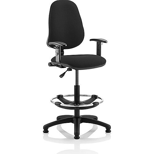 Eclipse I Lever Task Operator Office Chair Black With Height Adjustable Arms With Draughtsman Kit