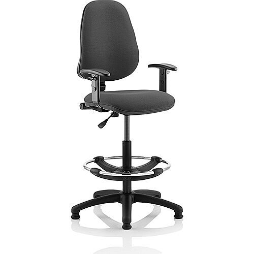 Eclipse I Lever Task Operator Office Chair Charcoal With Height Adjustable Arms With Draughtsman Kit