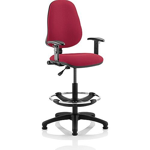 Eclipse I Lever Task Operator Office Chair Wine With Height Adjustable Arms With Draughtsman Kit