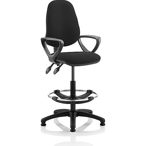 Eclipse II Lever Task Operator Office Chair Black With Loop Arms With Draughtsman Kit