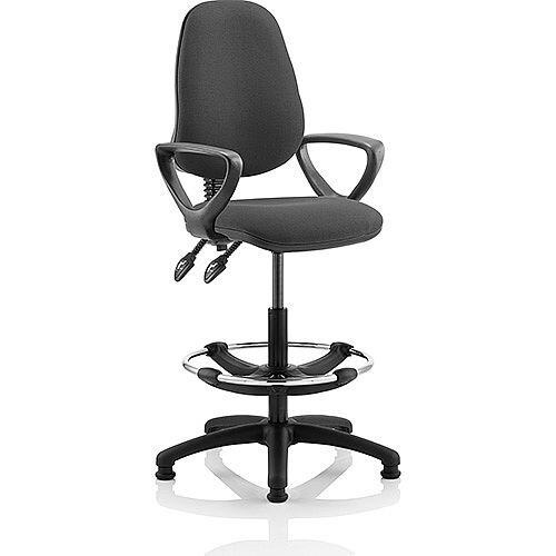 Eclipse II Lever Task Operator Office Chair Charcoal With Loop Arms With Draughtsman Kit