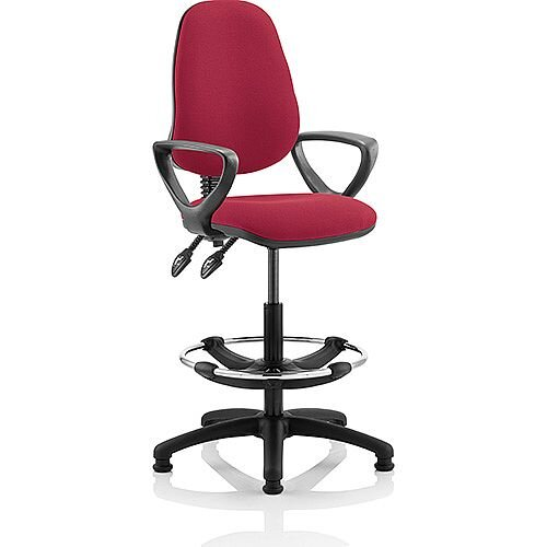 Eclipse II Lever Task Operator Office Chair Wine With Loop Arms With Draughtsman Kit