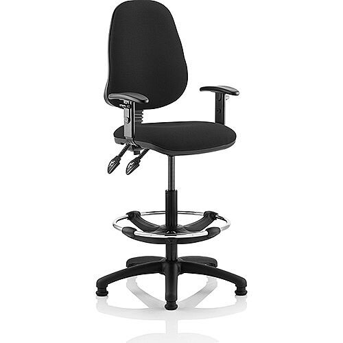 Eclipse II Lever Task Operator Office Chair Black With Height Adjustable Arms With Draughtsman Kit