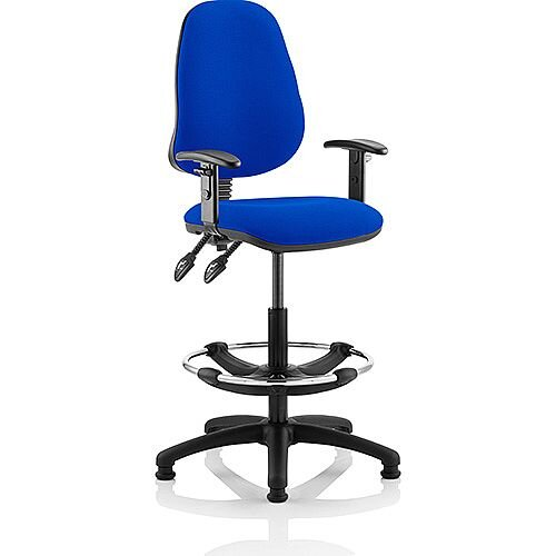 Eclipse II Lever Task Operator Office Chair Blue With Height Adjustable Arms With Draughtsman Kit