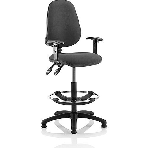 Eclipse II Lever Task Operator Office Chair Charcoal With Height Adjustable Arms With Draughtsman Kit