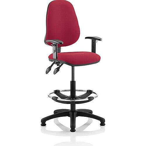 Eclipse II Lever Task Operator Office Chair Wine With Height Adjustable Arms With Draughtsman Kit