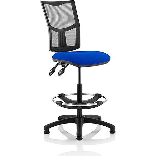 Eclipse II Lever Task Operator Office Chair Mesh Back With Blue Seat With Draughtsman Kit