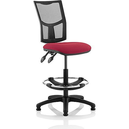 Eclipse II Lever Task Operator Office Chair Mesh Back With Wine Seat With Draughtsman Kit