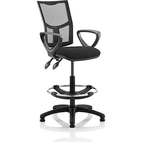 Eclipse II Lever Task Operator Office Chair Mesh Back With Black Seat With loop Arms With Draughtsman Kit