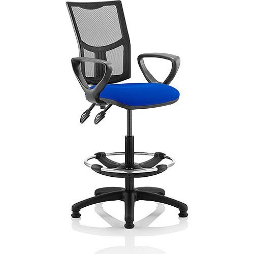 Eclipse II Lever Task Operator Office Chair Mesh Back With Blue Seat With loop Arms With Draughtsman Kit