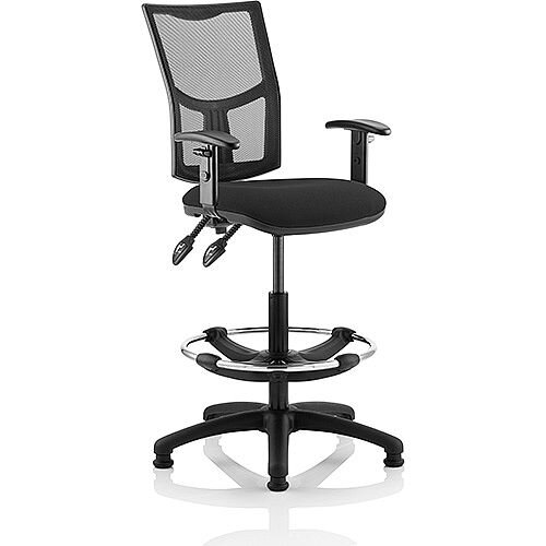 Eclipse II Lever Task Operator Office Chair Mesh Back With Black Seat With Height Adjustable Arms With Draughtsman Kit