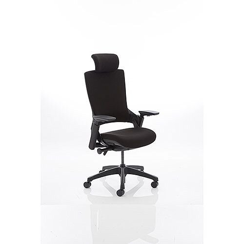 Molet Black Frame Black Fabric Office Chair With Black Fabric Headrest