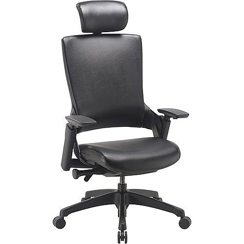 Molet Black Frame Black Leather Office Chair With Black Leather Headrest