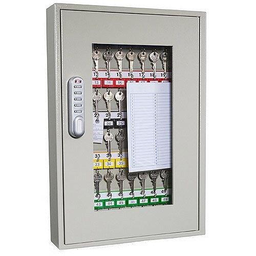 Phoenix Keysure KC0401E 50 Hook Clear View Key Cabinet with ELectronic Lock Light Grey