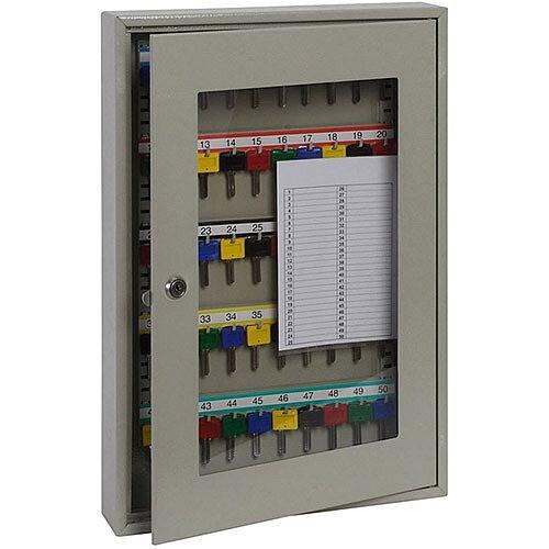 Phoenix Keysure KC0403K 50 Hook Clear View Key Cabinet with Key Lock Light Grey