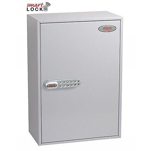 Phoenix Commercial Key Cabinet KC0604N 200 Hook with Net Code Electronic Lock. Light Grey