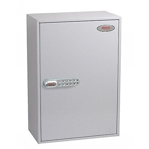 Phoenix Commercial Key Cabinet KC0605S 300 Hook with Electronic Lock &Push Shut Latch. Light Grey