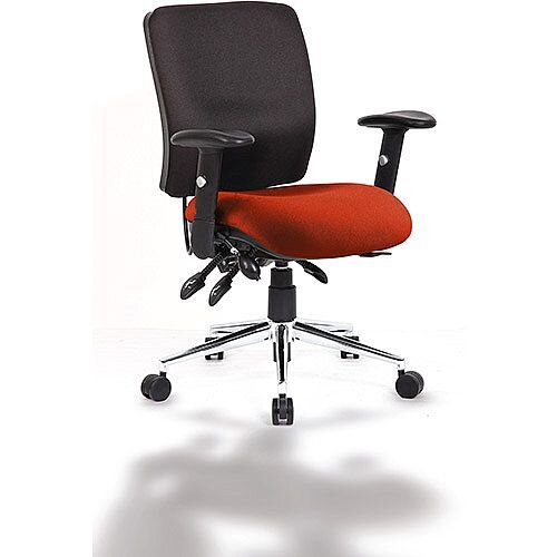 Chiro Medium Back Task Operator Office Chair Black Back &Pimento Rustic Orange Seat