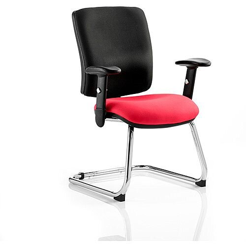 Chiro Medium Back Cantilever Chair Black Back &Cherry Red Seat