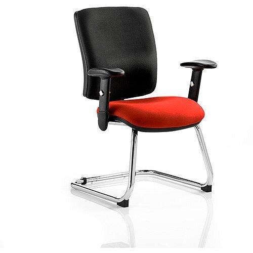 Chiro Medium Back Cantilever Chair Black Back &Pimento Rustic Orange Seat