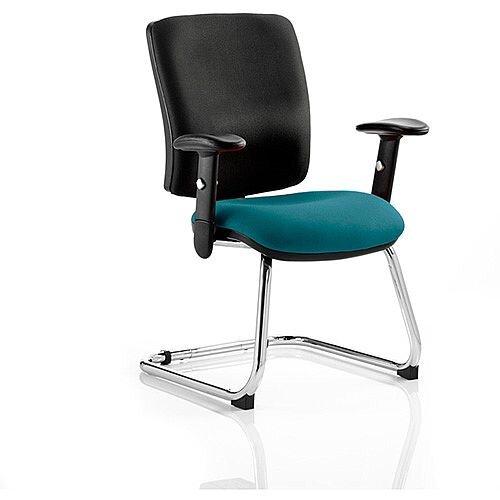 Chiro Medium Back Cantilever Chair Black Back &Kingfisher Green Seat
