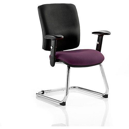 Chiro Medium Back Cantilever Chair Black Back &Purple Seat