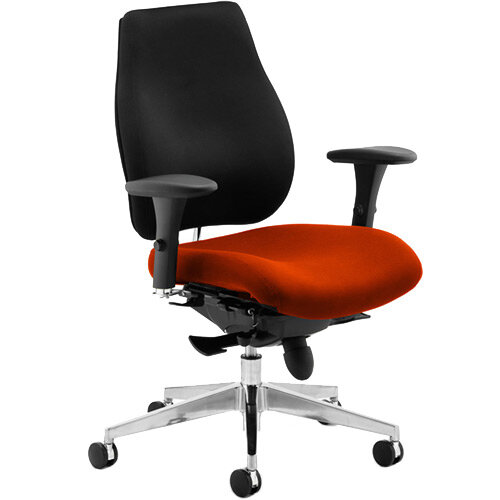 Chiro Plus High Back Ergonomic Posture Office Chair Black Back &Pimento Rustic Orange Seat