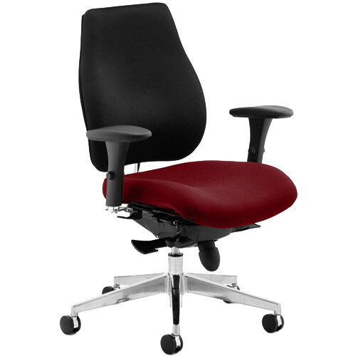 Chiro Plus High Back Ergonomic Posture Office Chair Black Back &Chilli Red Seat
