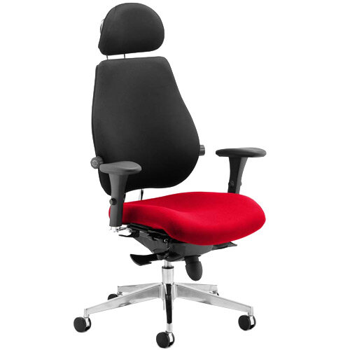 Chiro Plus Ultimate High Back Ergonomic Posture Office Chair With Headrest Black Back &Cherry Red Seat