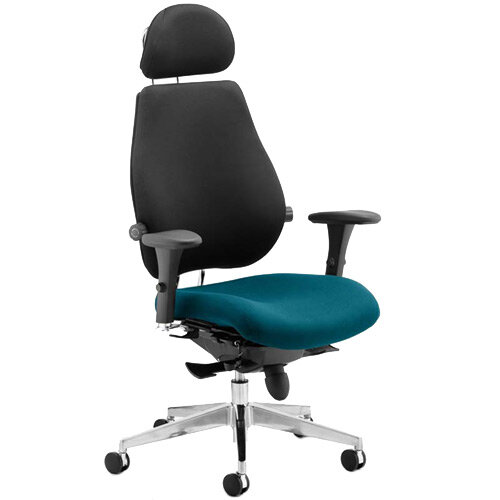Chiro Plus Ultimate High Back Ergonomic Posture Office Chair With Headrest Black Back &Kingfisher Green Seat