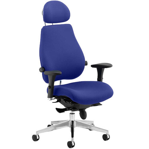 Chiro Plus Ultimate High Back Ergonomic Posture Office Chair With Headrest Serene Blue