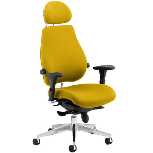 Chiro Plus Ultimate High Back Ergonomic Posture Office Chair With Headrest Sunset Yellow
