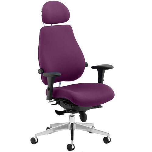 Chiro Plus Ultimate High Back Ergonomic Posture Office Chair With Headrest Purple