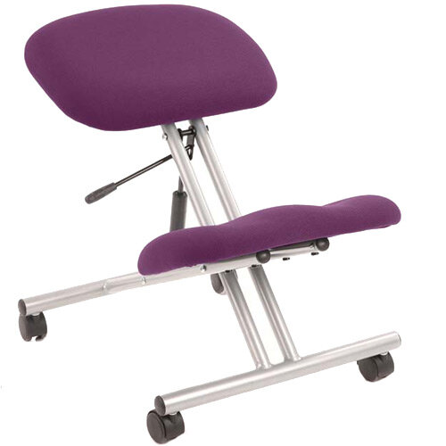 Kneeling Stool Silver Frame Purple