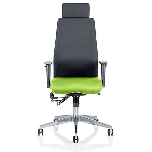 Onyx High Back Ergonomic Posture Office Chair With Headrest Black Back &Swizzle Green Seat
