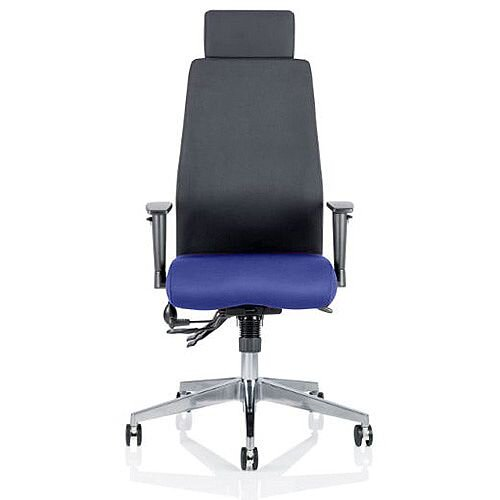 Onyx High Back Ergonomic Posture Office Chair With Headrest Black Back &Serene Blue Seat
