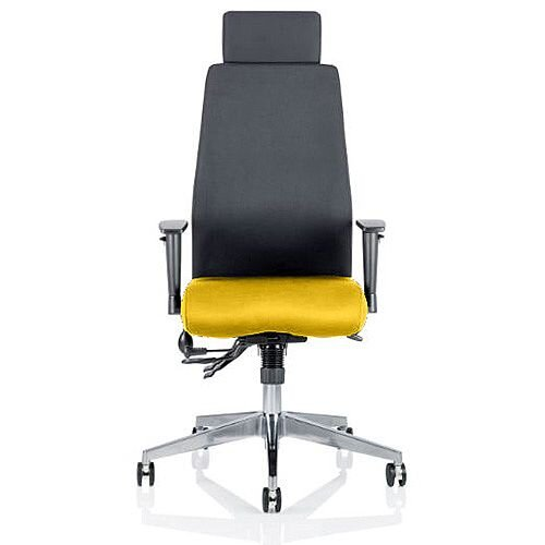 Onyx High Back Ergonomic Posture Office Chair With Headrest Black Back &Sunset Yellow Seat