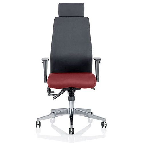 Onyx High Back Ergonomic Posture Office Chair With Headrest Black Back &Chilli Red Seat