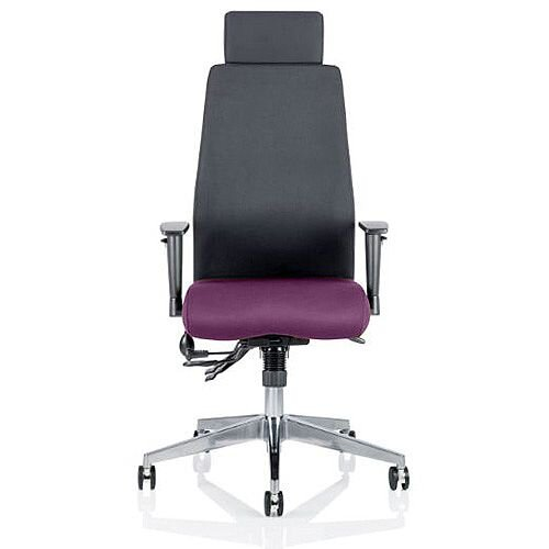 Onyx High Back Ergonomic Posture Office Chair With Headrest Black Back &Purple Seat