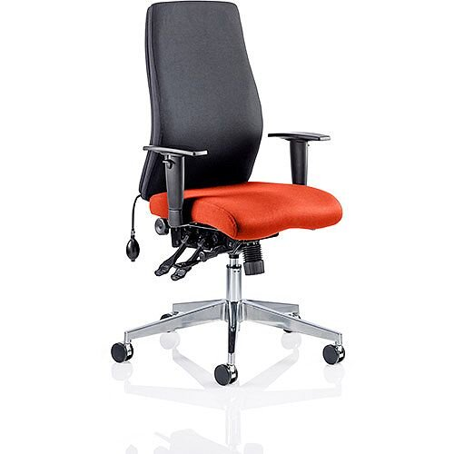 Onyx High Back Ergonomic Posture Office Chair Black Back &Pimento Rustic Orange Seat