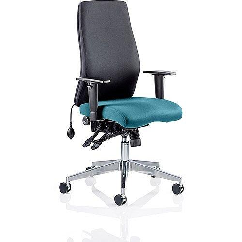 Onyx High Back Ergonomic Posture Office Chair Black Back &Kingfisher Green Seat